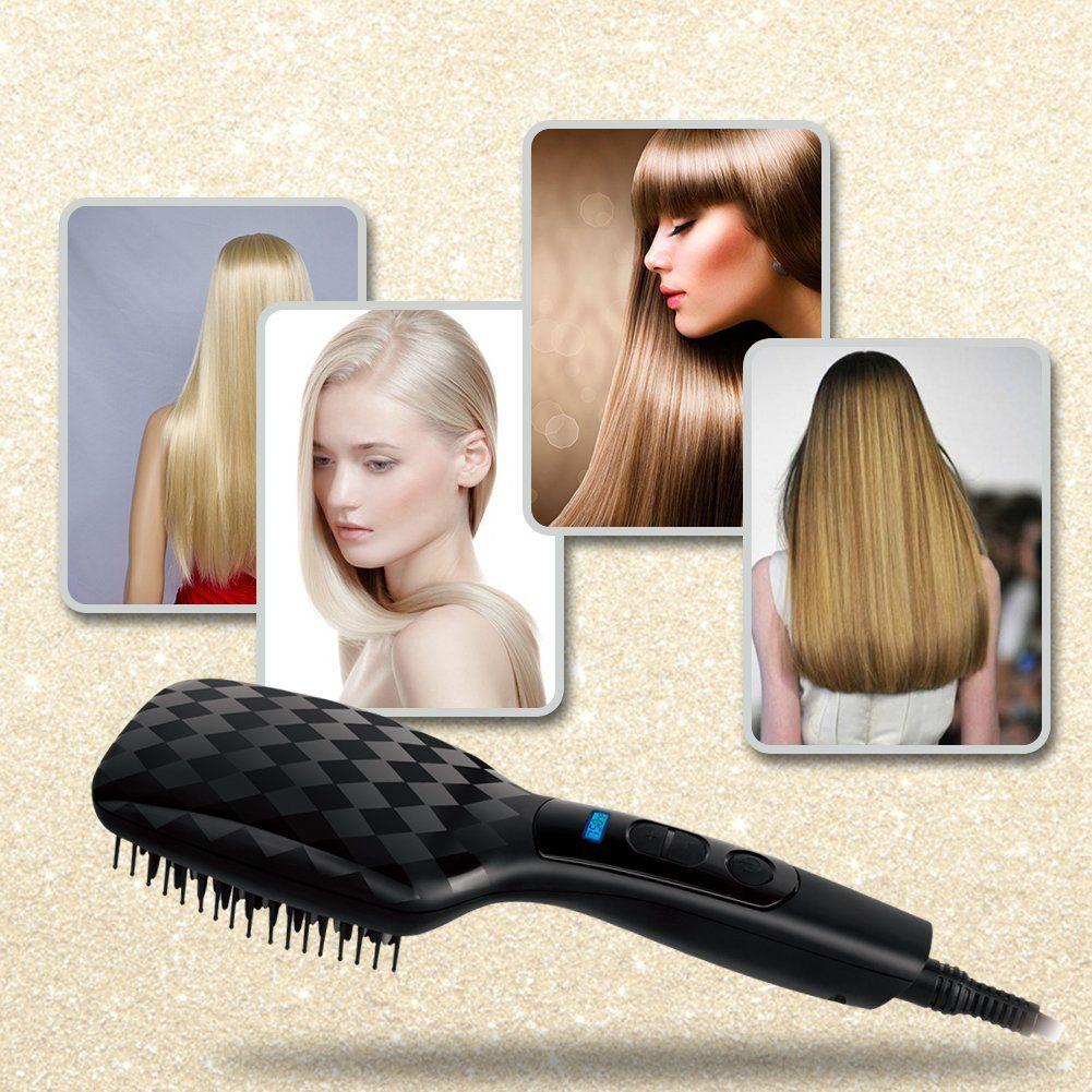 Hair Straightening Brushrozia Diamond Infused Ionic Straight Unique Repair Hair Function Smoothing Digita Hair Repair Hair Straightener Hair Brush Straightener