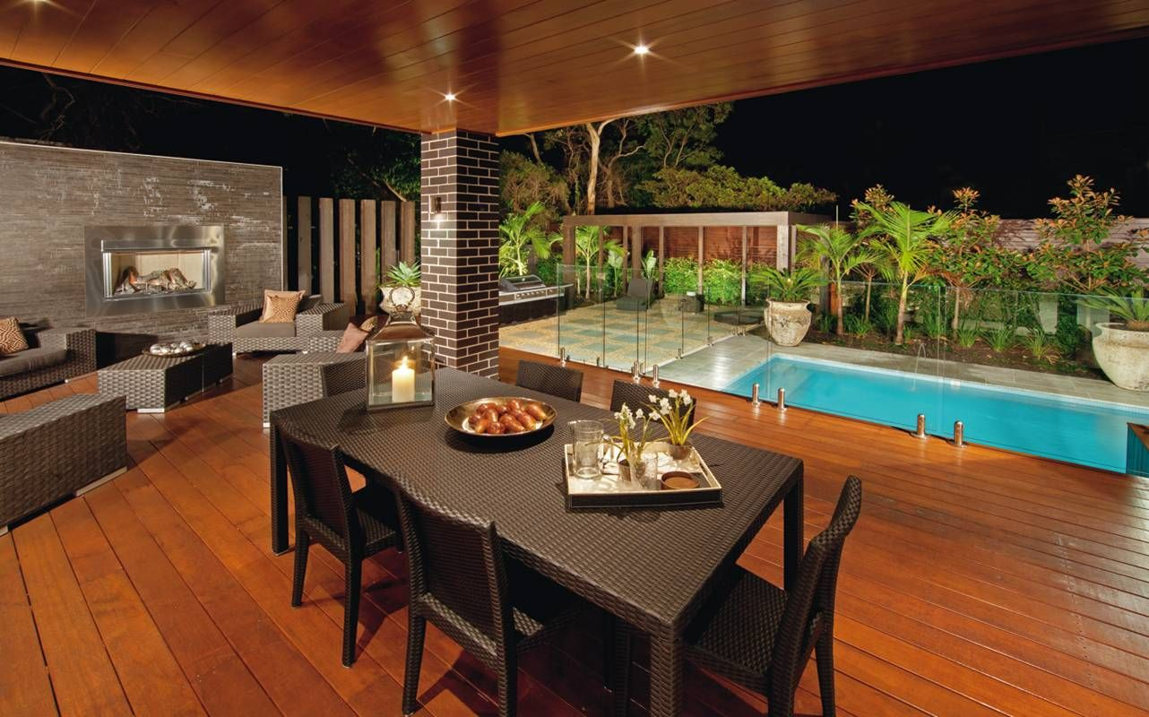 Minimalist Patio With Wicker Furniture Beside Glass Pool ... on Small Backyard Entertainment Area Ideas id=27093