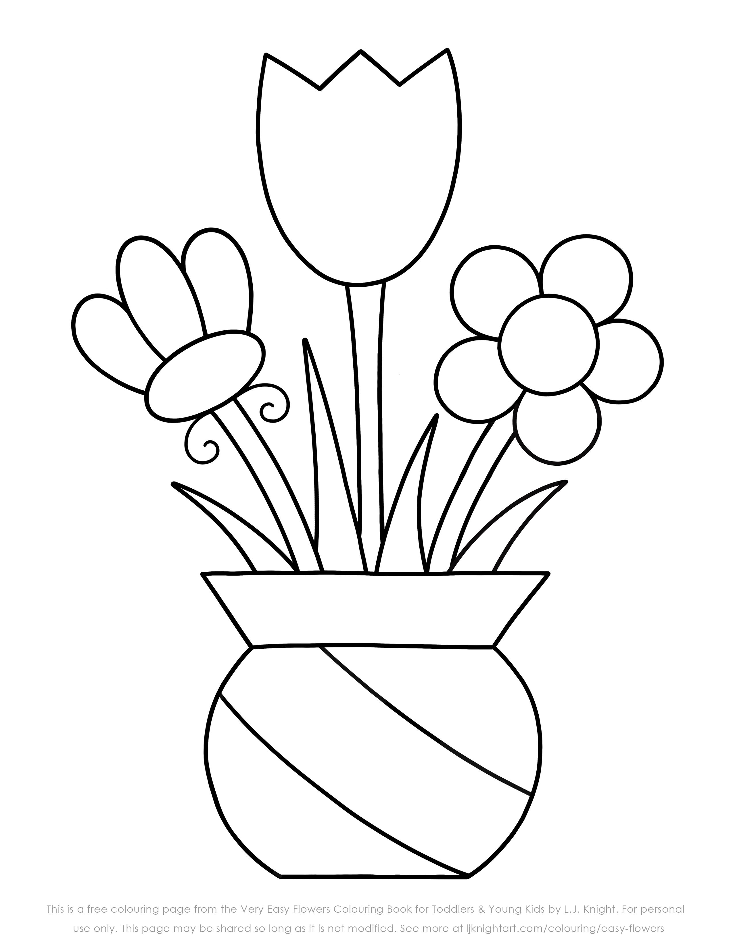 Free Very Easy Flowers Colouring Page   Free coloring pages, Easy ...