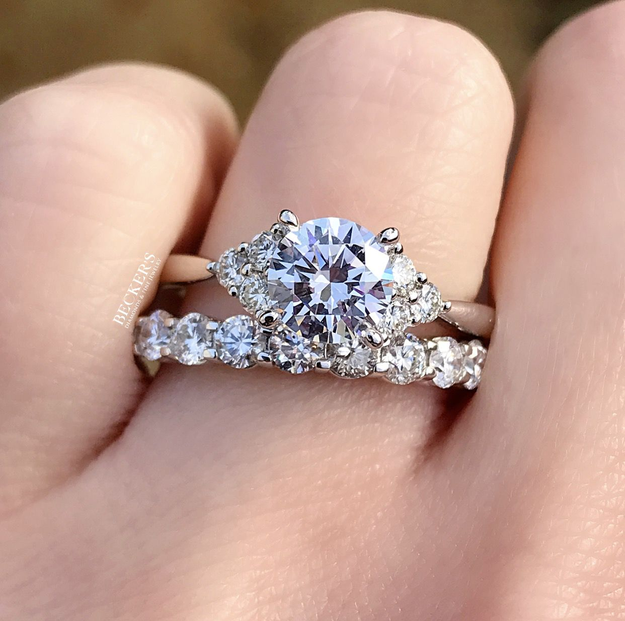 Loving This Engagement Ring By Artcarved Diamond Trio Clusters
