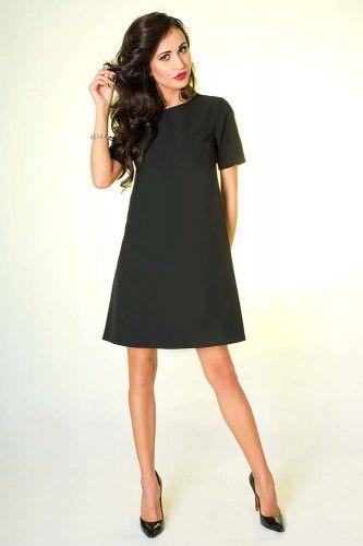 65b596ad9d Czarna trapezowa sukienka