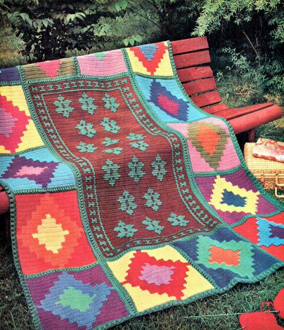 Vintage Crochet Pattern Indian Aztec Kelim Afghan Throw Blanket ...