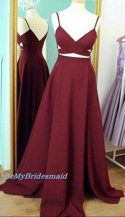 8cfa8ef707b Charming Burgundy Two Piece Straps Silk Chiffon Prom Dresses ...