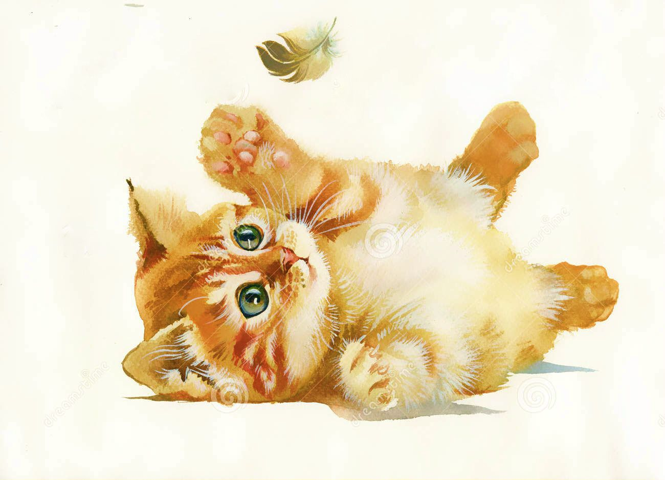Watercolor Kitten Feather Animals Watercolor Animals Cute Animal Drawings