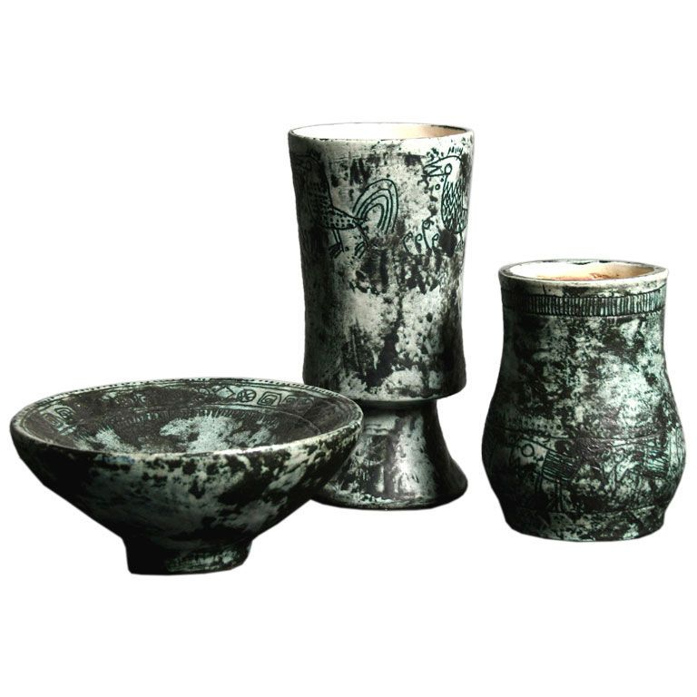1stdibs | Earthernware vases and bowl by Jacques Blin