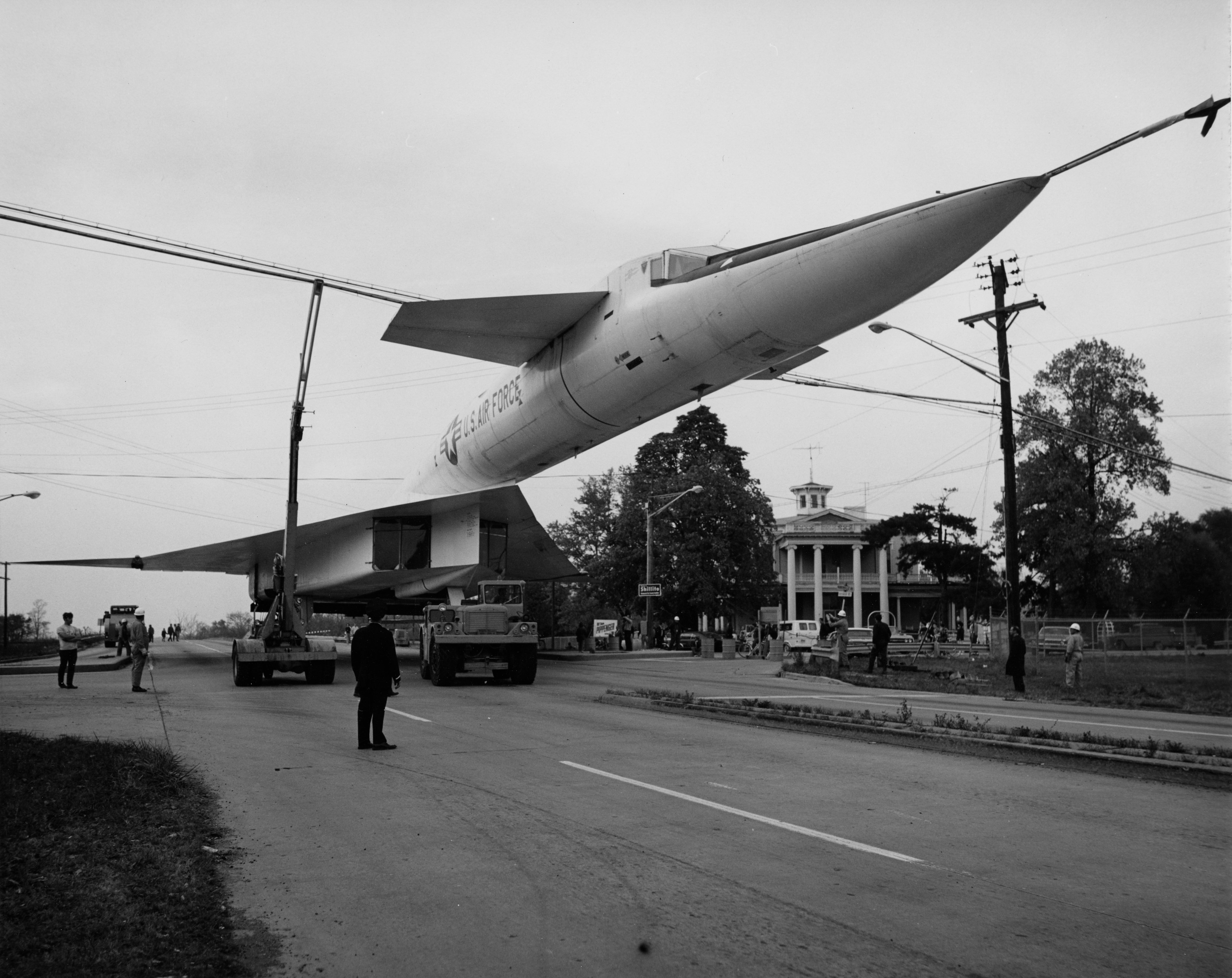 XB70 sneaking beneath power lines during the 1970 move of