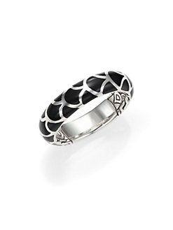 John Hardy - Naga Enamel & Sterling Silver Band Ring/Black