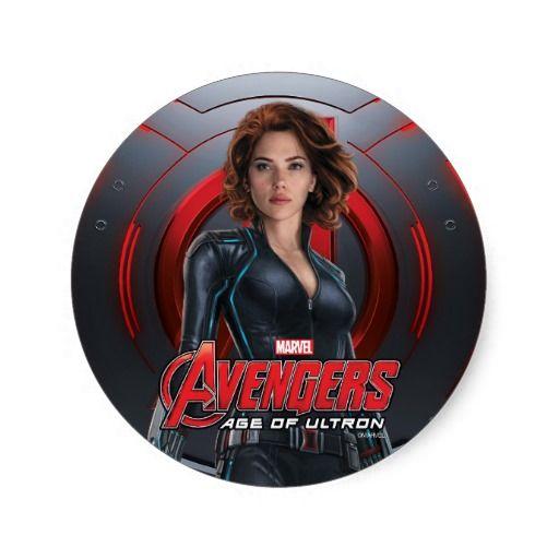 Black Widow Character Art Classic Round Sticker Vingadores