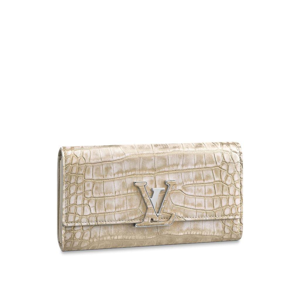 Capucines wallet crocodilien matte small leather goods