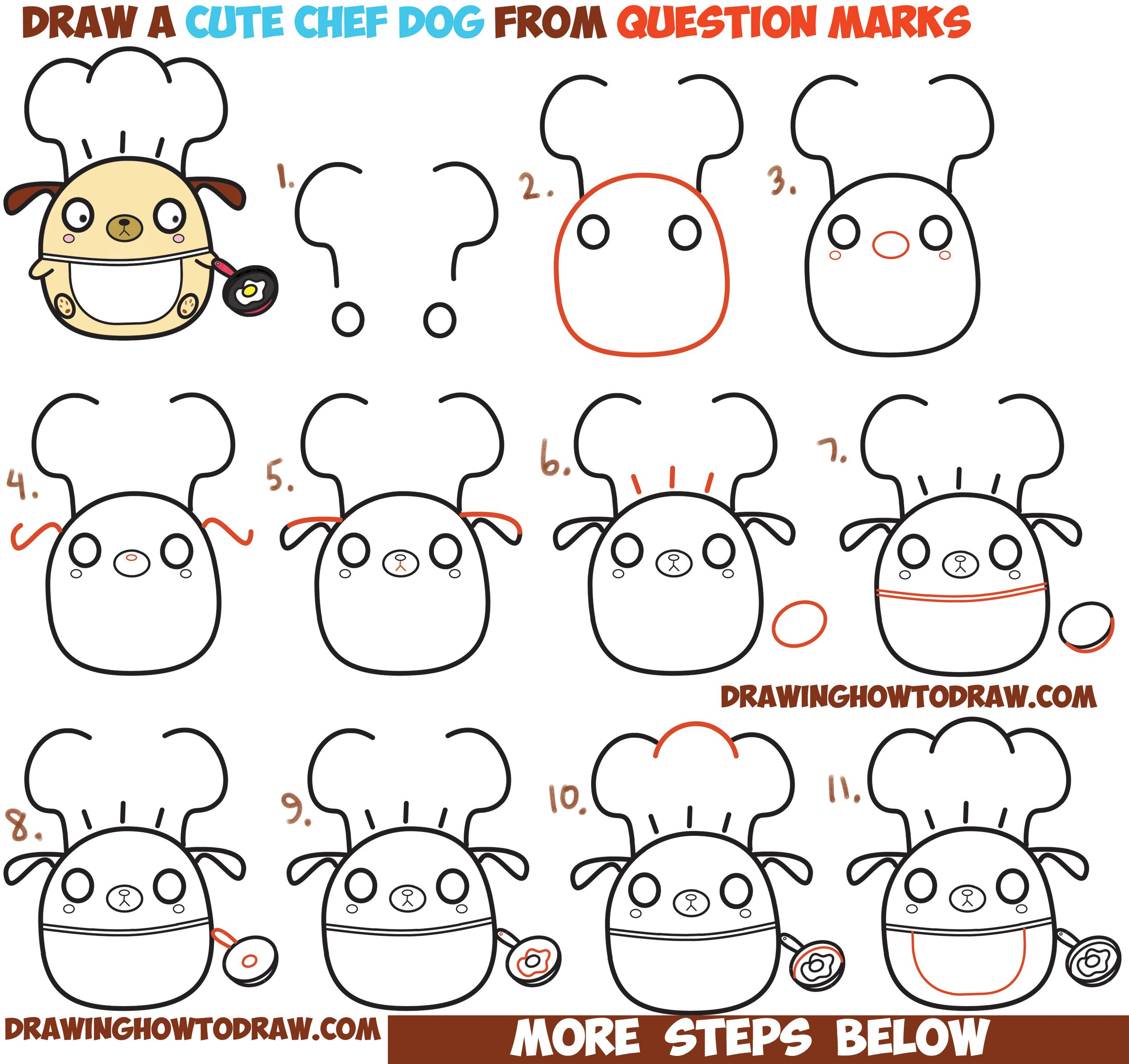 How To Draw Cute Kawaii Chibi Dog Chef Cooking From Question Mark Shapes With Easy Step By Step Drawing Tutorial For Kids How To Draw Step By Step Drawing Tut