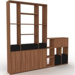 Photo of Holzregal Nussbaum – Modernes Regal aus Holz: Schubladen in Schwarz & Türen in Nussbaum – 270 x 254