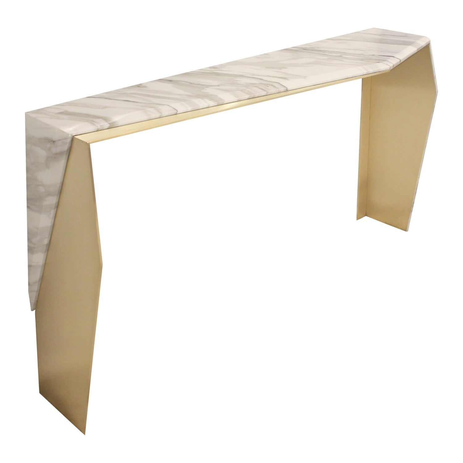 Chevron Brass And Calacatta Gold Marble Console Table In 2020 Marble Console Table Calacatta Gold Marble Brass Console Table