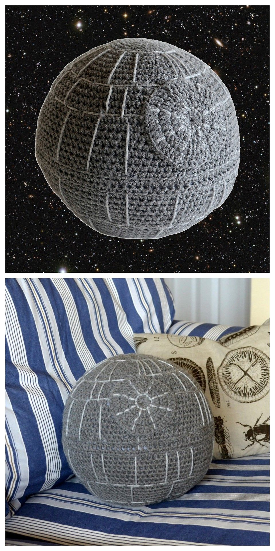 truebluemeandyou: DIY Crochet Death Star Pillow Free Pattern from Pops de Milk. In my experience lots of online free patterns either disappear or sometimes become patterns for sale - so if you like this download it soon. For a crochet sphere calculator go here. For more Star Wars Death Star DIYs go here: truebluemeandyou.tumblr.com/tagged/death-star For the mini Death Star roundup below go here.