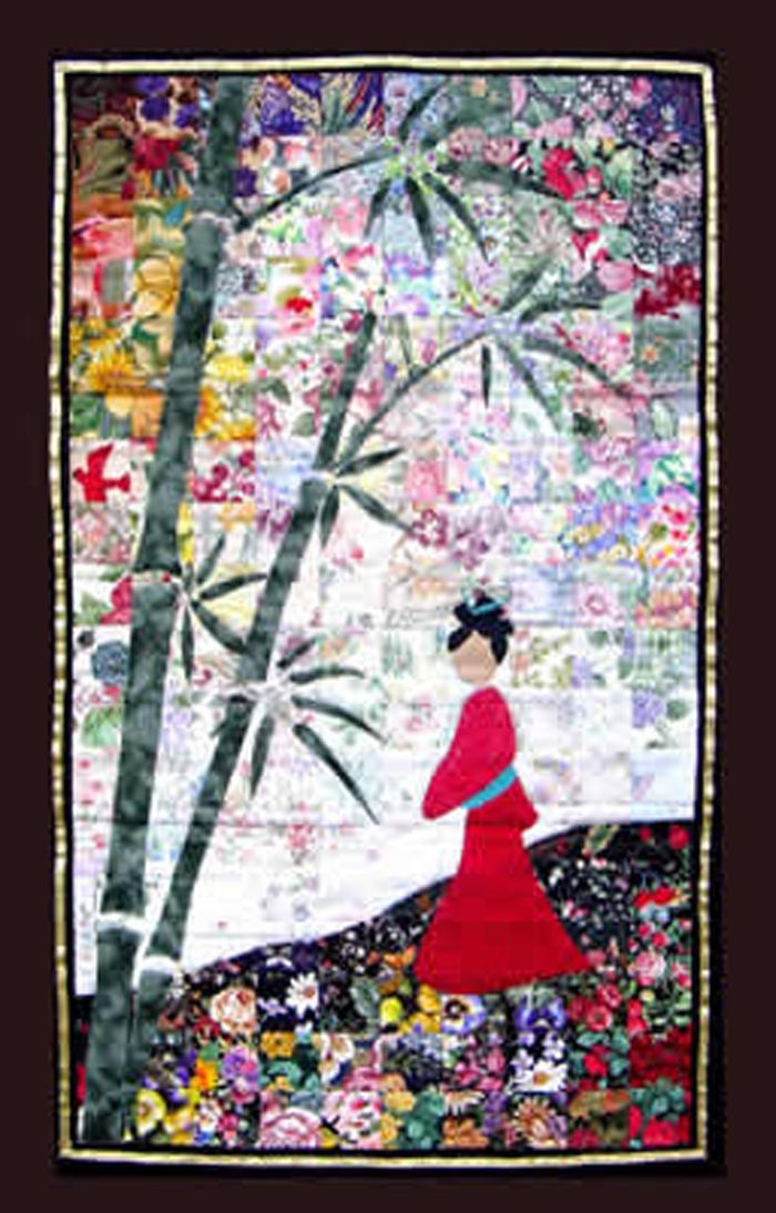 Beautiful oriental watercolor quilt kit. Whispering Bamboo Quilt ... : bamboo quilt pattern - Adamdwight.com
