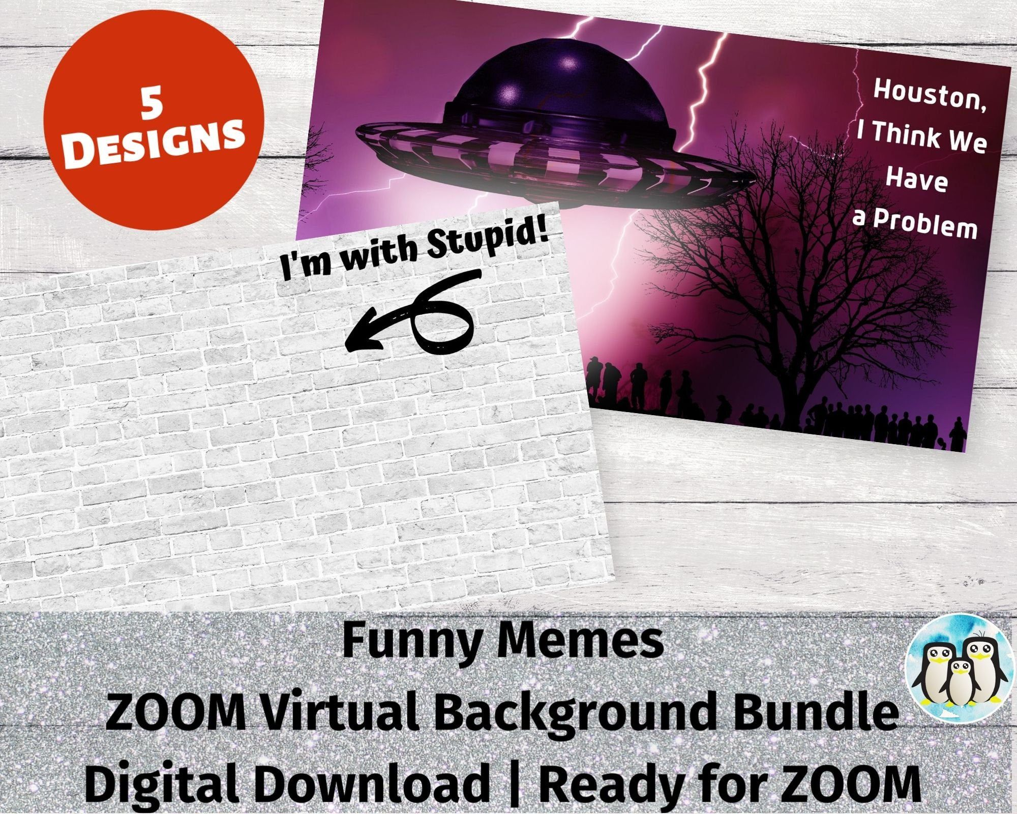 Zoom Virtual Background Bundle Of 5 Funny Memes Zoom Etsy Funny Memes Name Games Party Names