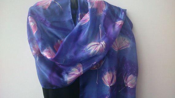Largo elegante pintado a mano bufanda de seda por SilkLetters