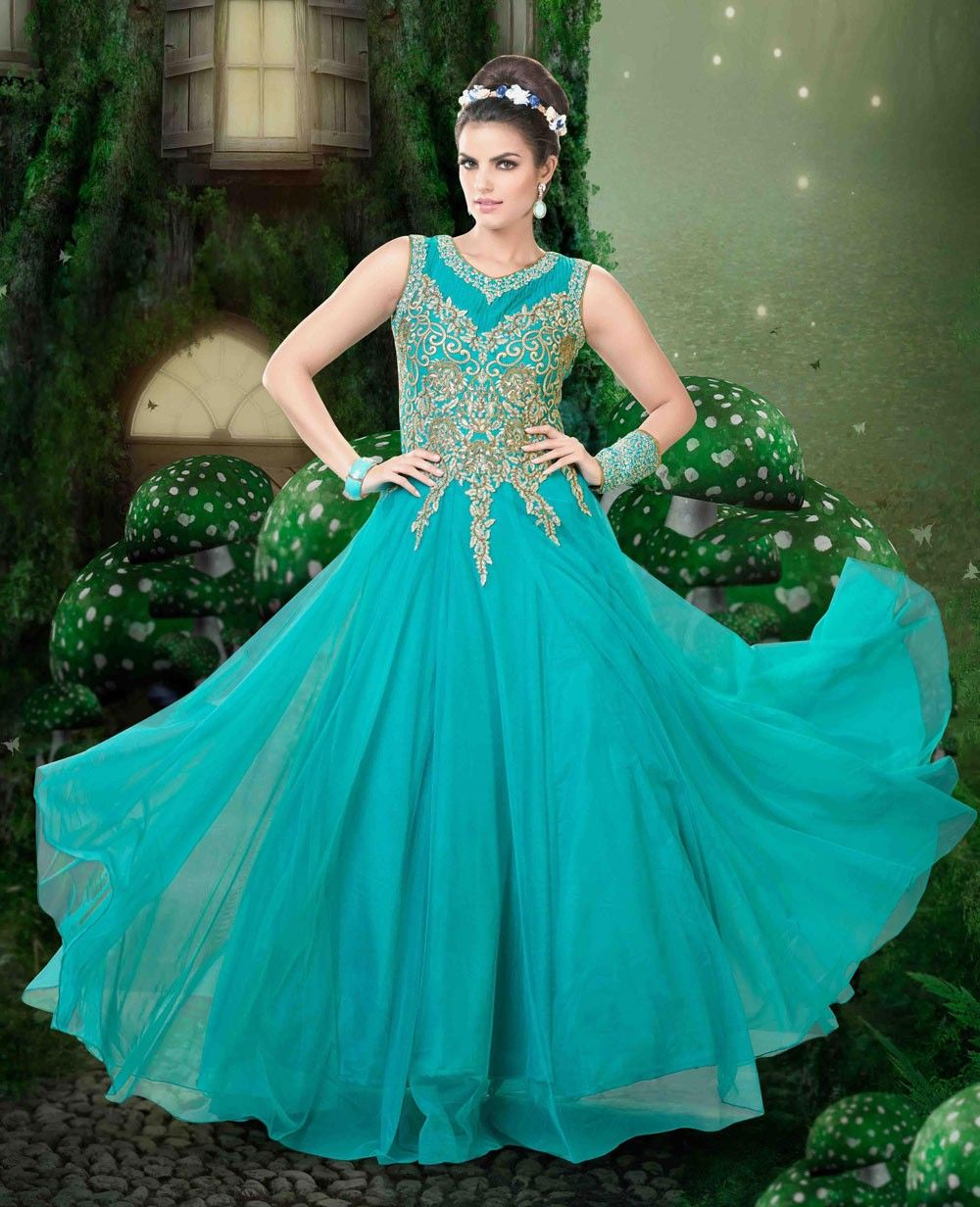 Designer Indian party gown dress in Tiffany Blue H15075 | ◇Teal ...