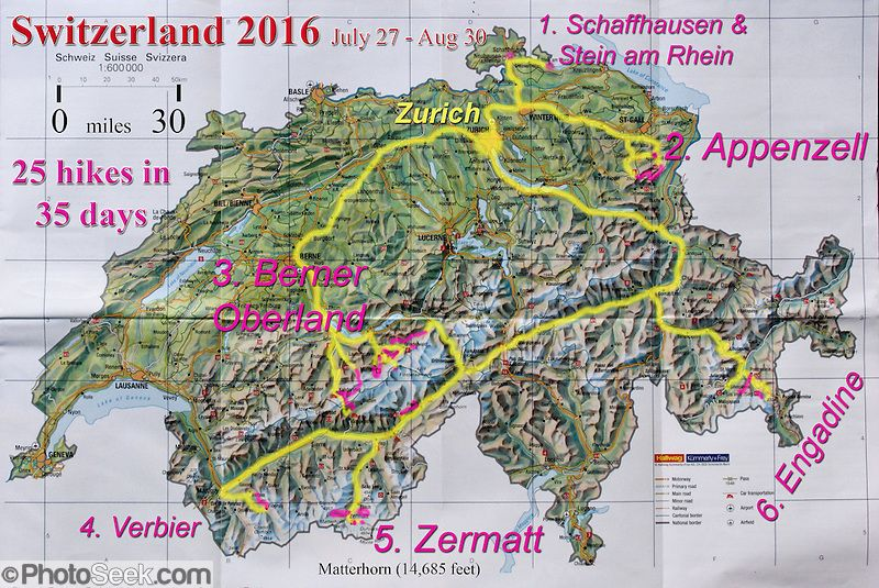 A geographic travel map of Switzerland shows a month itinerary ...