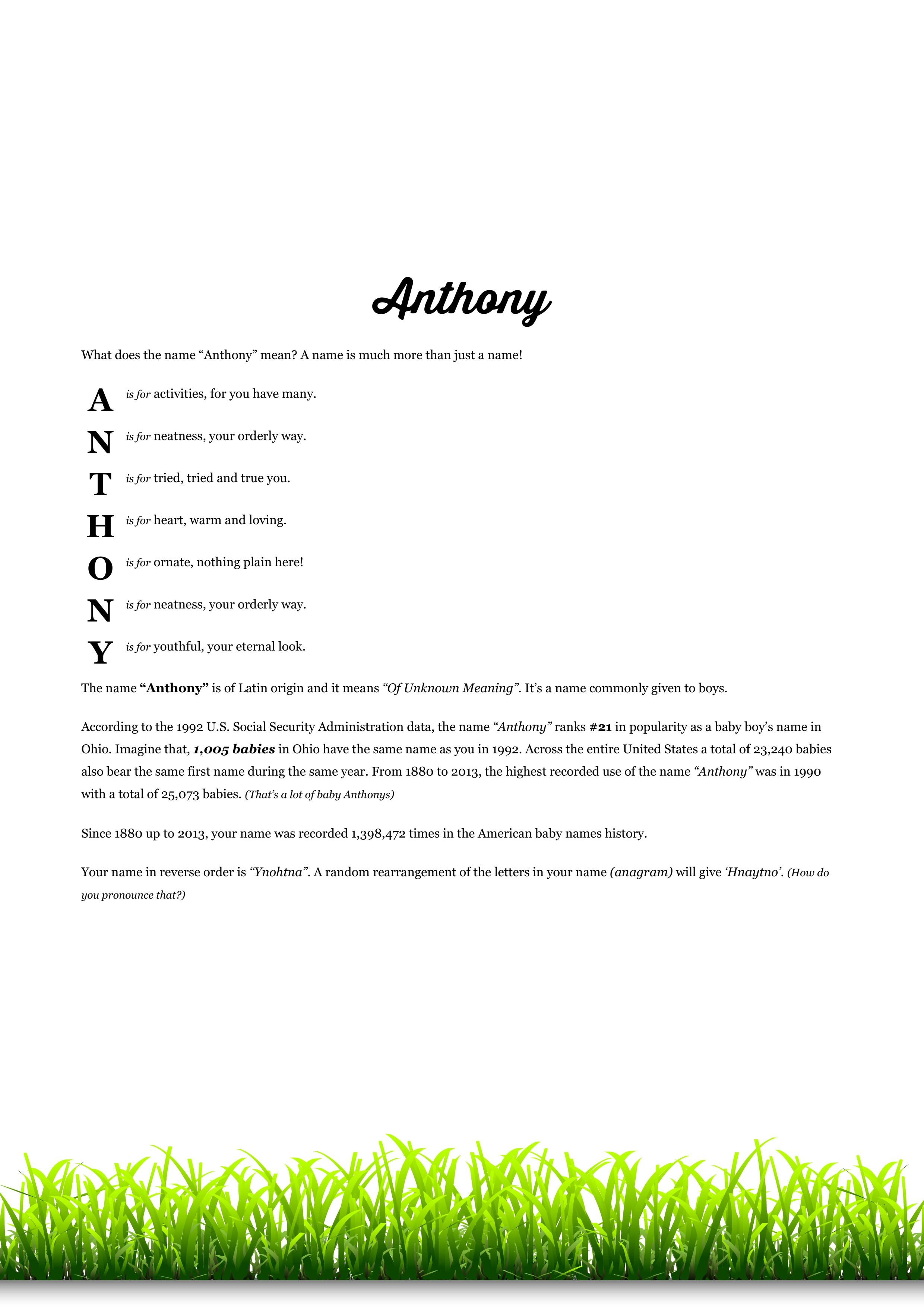 The #namemeaning of #Anthony using Plain Grass from the