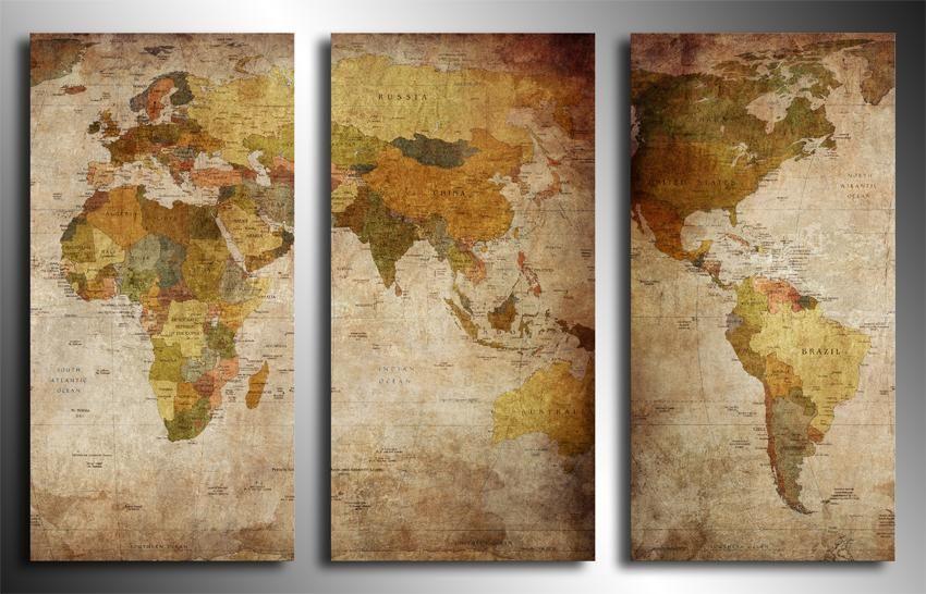 Nowosc Mapa Swiata 120x80 Ramix Obraz 4705510803 Oficjalne Archiwum Allegro Map Decor Map Globe Vintage World Maps