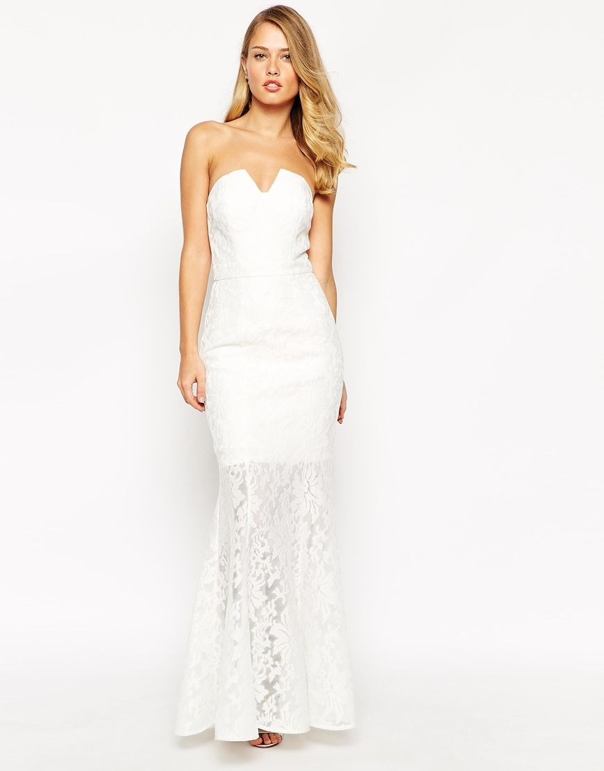 Dresses to wear to a wedding as a guest in april  Jarlo Annabelle Fishtail Maxi Dress In All Over Lace  Impressive