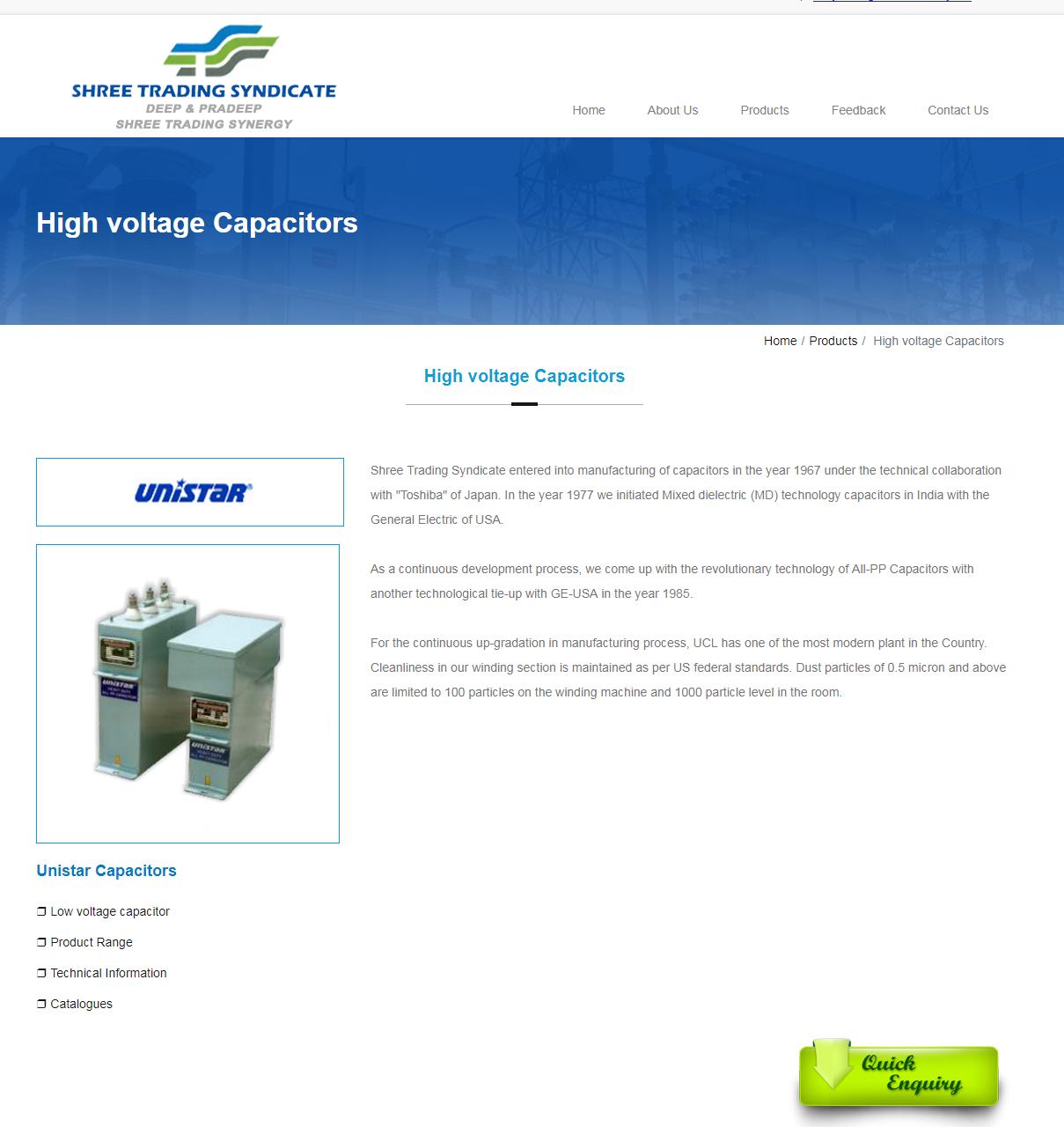 Unistar Capacitor High Voltage Capacitors Low Voltage Capacitor India Capacitor High Voltage Capacitors