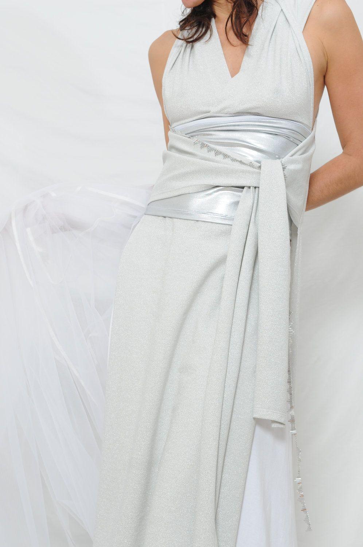 97308756cdb Convertible wedding dress-Handmade gown-Made to order-Bridal dress-Wrap wedding  dress includes silver waistband