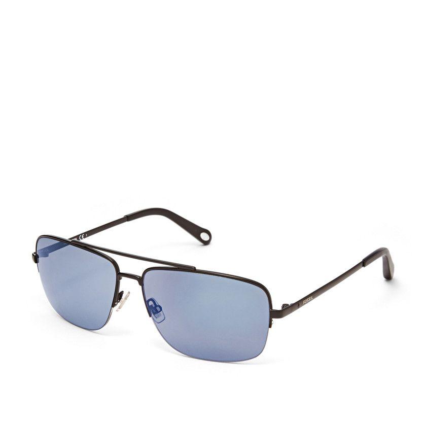 34c2abd83e Fossil Delafield Navigator Sunglasses - Black