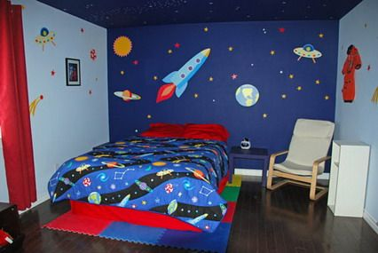 Good Cute And Simple Space Wars Wall Murals Stickers Paint Color Schemes For Kids  Bedroom Walls Decorating