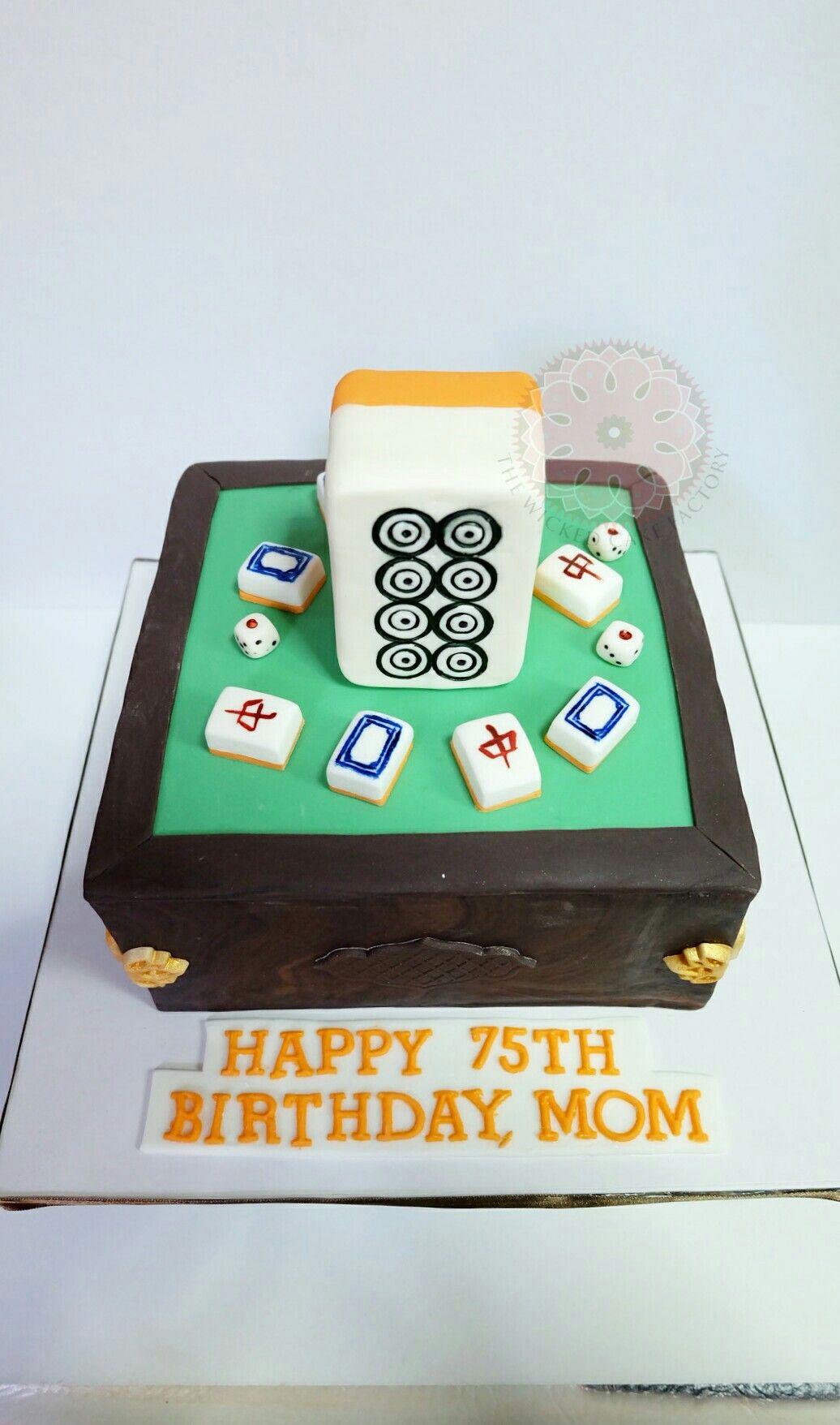 Mahjong Cake with a large 8 circles mahjong tile topper