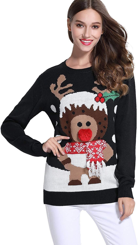 Women Christmas Cute Reindeer Knitted Sweater Pullover