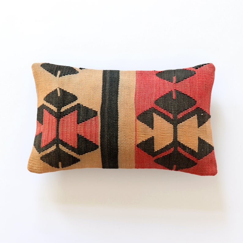 Kilim pillow 12x24 lumbar turkish 30x60 overdyed pillow cover case dark brown grey pile rug ethnic cushion bench couch sofa ethnic pillow