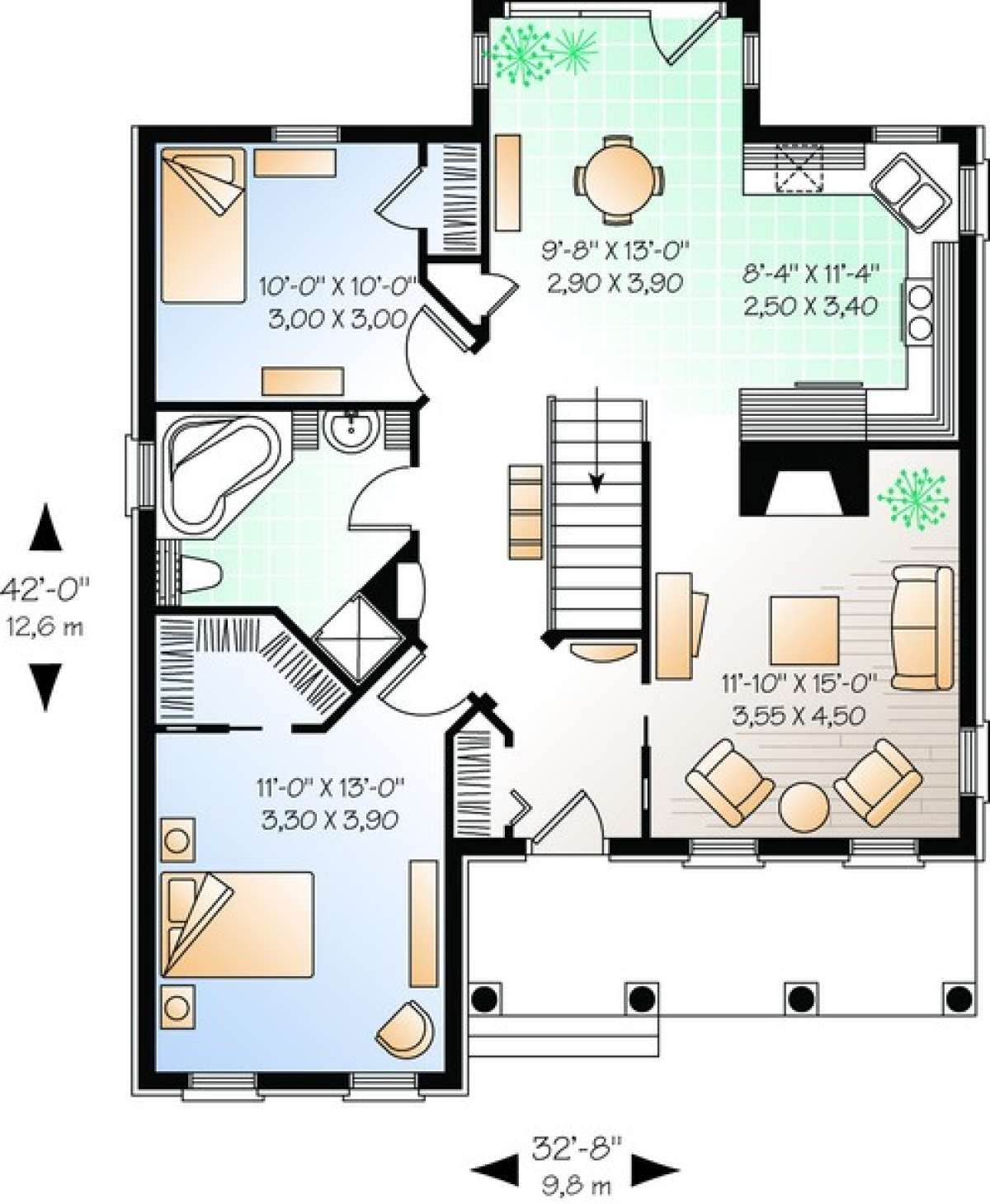 House Plan 034 00283 European Plan 1 094 Square Feet 2 Bedrooms 1 Bathroom In 2020 House Plans Small House Design Plans Family House Plans