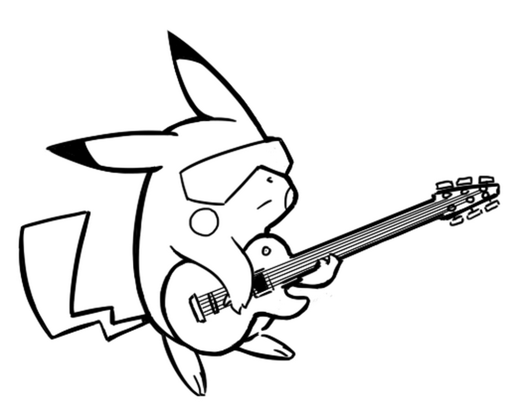 pikachu coloring pages playing guitar  pokemon