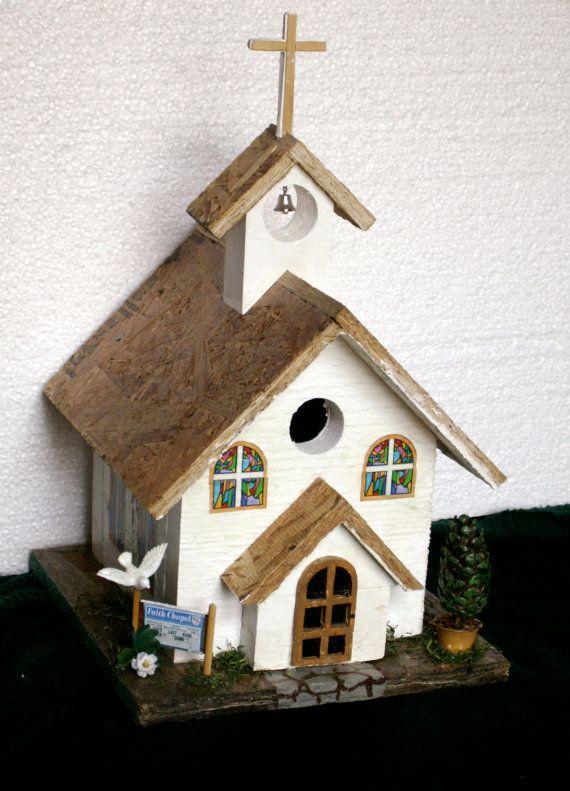 Handmade OOAK Faith Chapel birdhouse by dagutzyone on Etsy, $75.00