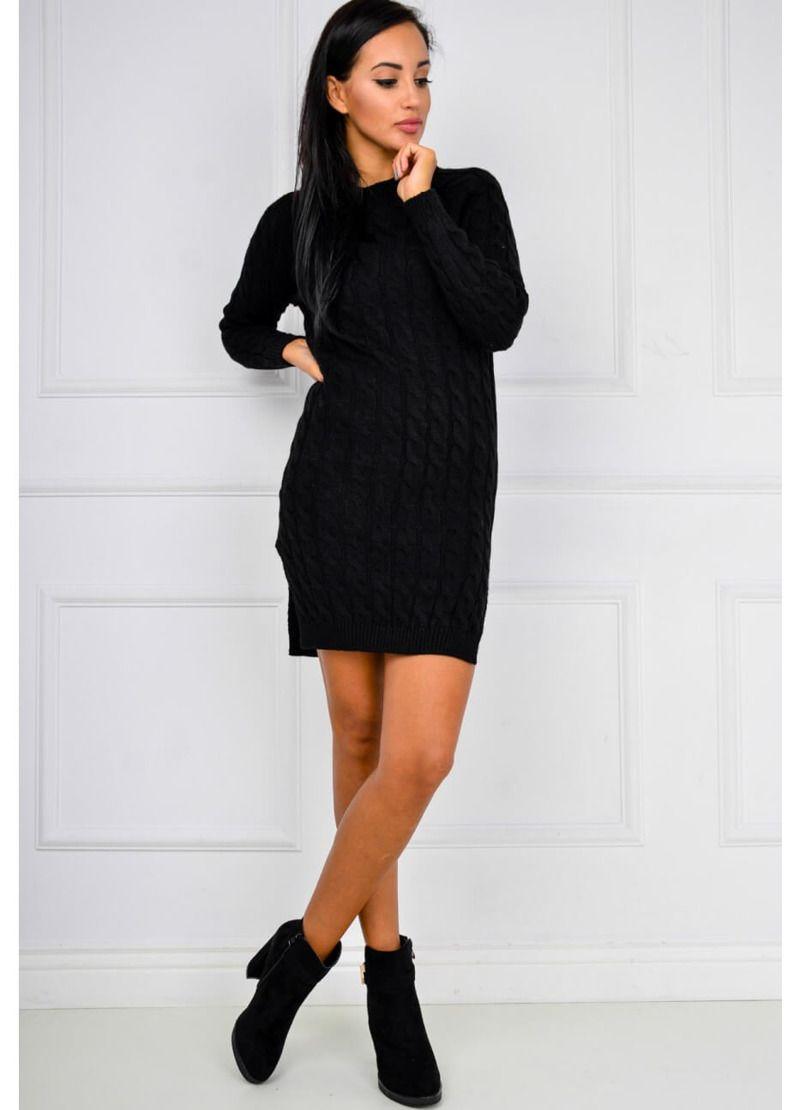 aa608d15cc740a Długi sweter tunika splot w warkocze rozcięcia, Ona Odzież Swetry | Sukienki .shop