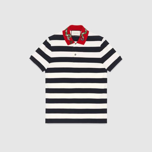 5b68cdb21 GUCCI Cotton Polo With Kingsnake Embroidery. #gucci #cloth #men's polos
