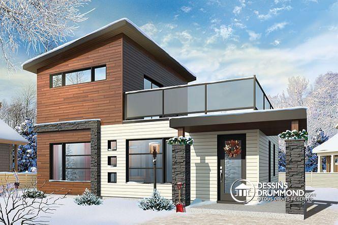 W1703 - Micro maison contemporaine à étage, 2 chambres, patio à l