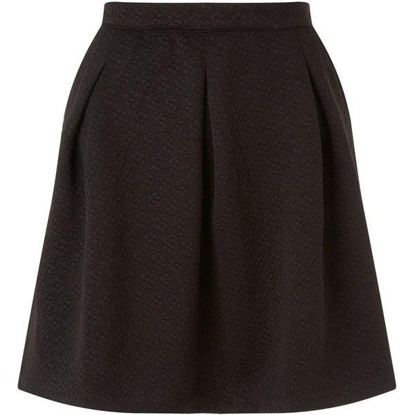 Naf Naf Retro Print Skirt ($57) ❤ liked on Polyvore featuring skirts, black print skirt, flower skirt, pattern skirt, retro skirt and black flower skirt