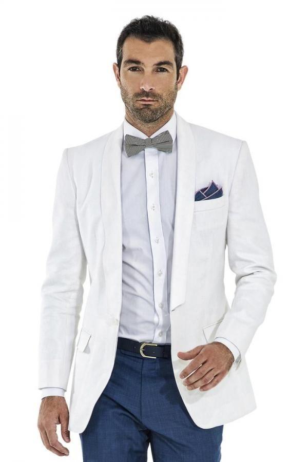 Italian Style Tailor Made Groom Tuxedos White Blazer Blue Pants Slim ...