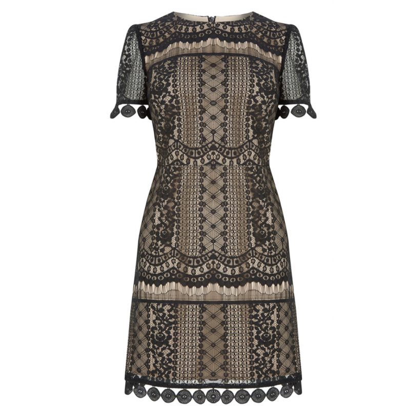 Graphic Lace Shift Dress