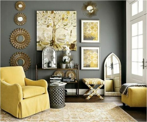 black white yellow gold bedroom - Google Search lovely home - wohnzimmer grau gelb