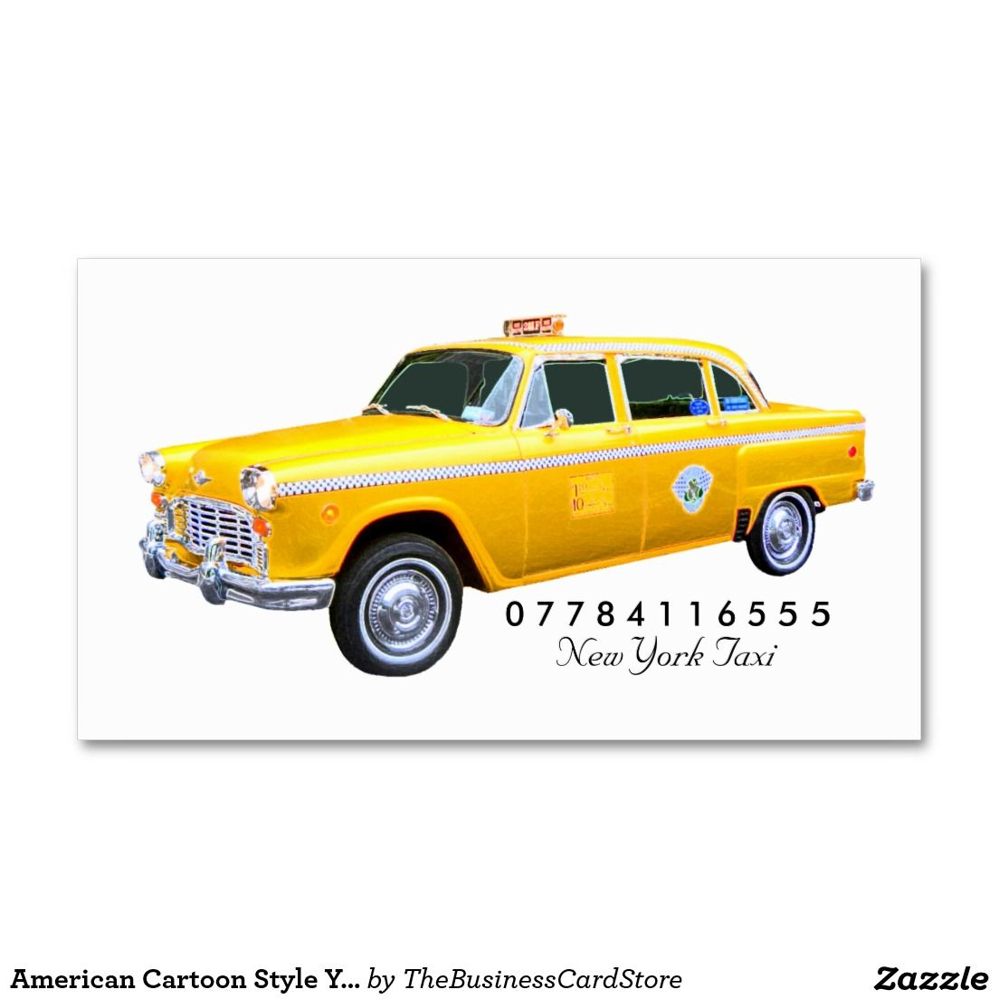 American Cartoon Style Yellow Taxi Cab Business Card | Taxi and Vehicle