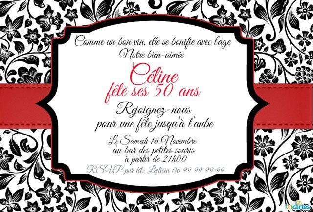 Invitation anniversaire 50 ans en rouge et noir | Modèle invitation anniversaire, Invitation ...