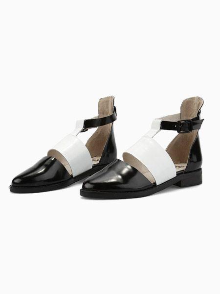 Black Patent Cut Out Flat Shoe