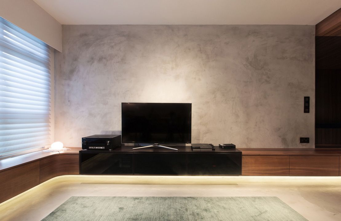 Cement Screed Wall Feature Roootstudio Interior Wall Design Industrial Apartment Decor Tv Feature Wall