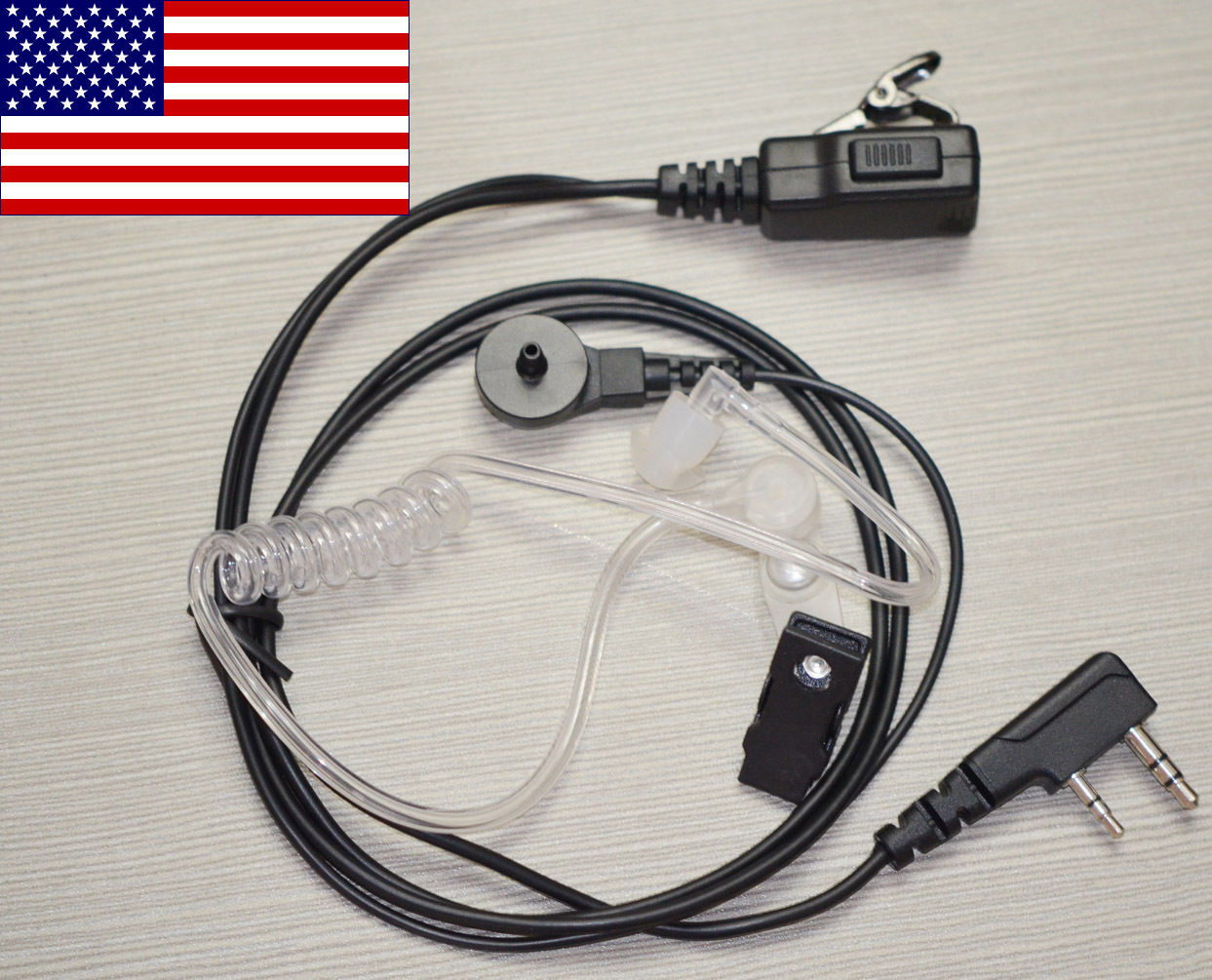 2 Pin Acoustic Tube Earpiece Earphone Mic for Kenwood TK3200 Baofeng UV5R BF888S