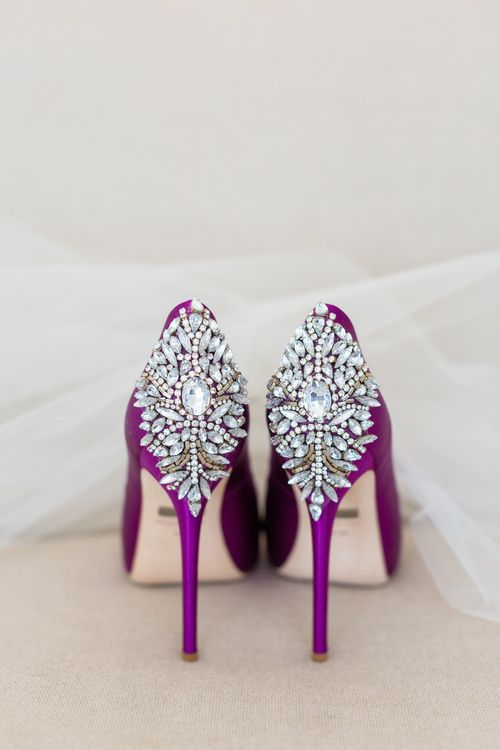wedding day shoes purple heels rhinestone backs meadowood sthelena napa