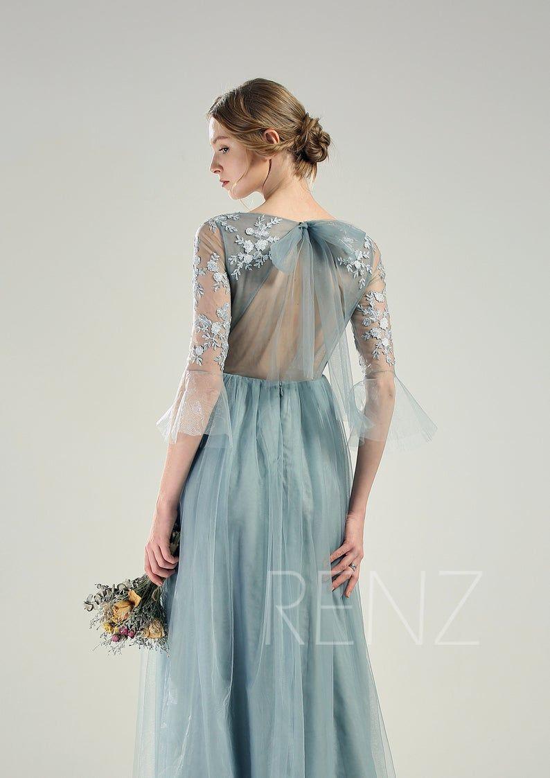 Blue Wedding Dress Long Sleeve Dusty Blue Bridesmaid Dress Etsy Wedding Dress Long Sleeve Dusty Blue Bridesmaid Dresses Blue Wedding Dresses [ 1123 x 794 Pixel ]