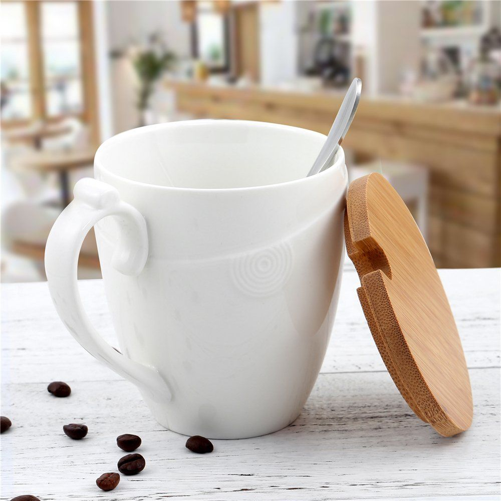 Porcelain Coffee Mug with Bamboo Lid Ceramic Handle